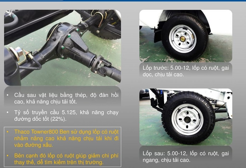 Hệ thống khung gầm xe tải thaco towner 800