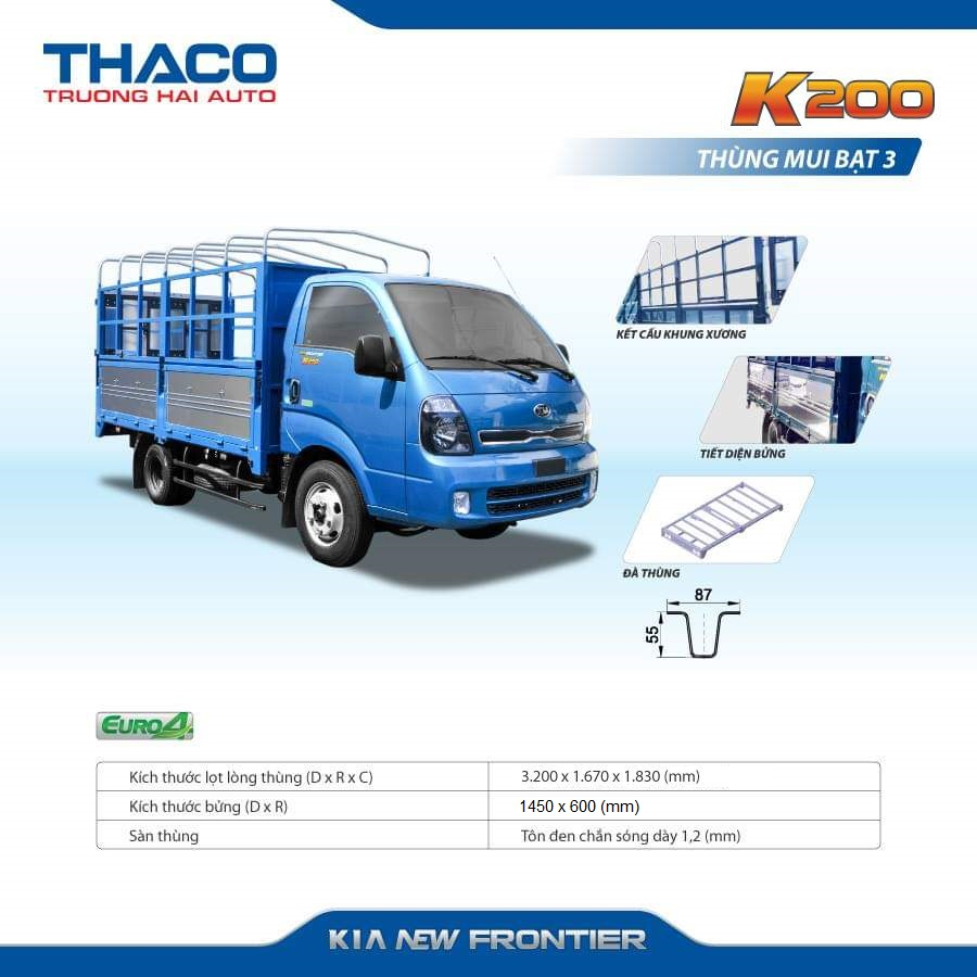 Xe tải KIA K200 Thùng Mui bạt 5 Bửng -AVAR