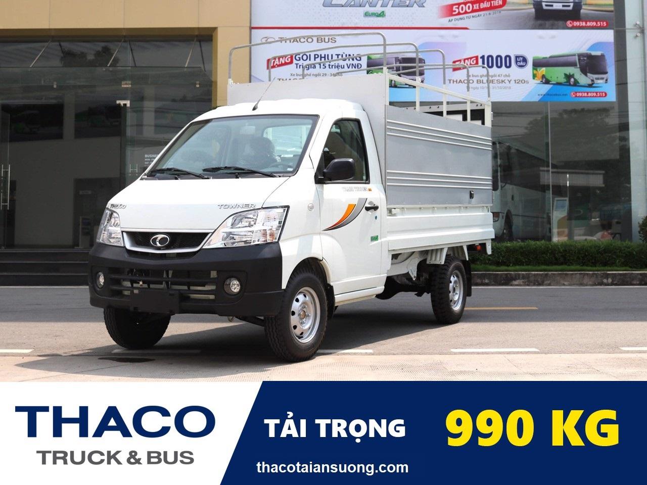 Xe tải Towner 990 thùng mui bạt trắng – thaco an suong